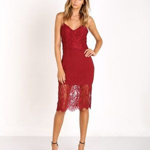 Lovers + Friends Devoted Lace dress in Wine Small